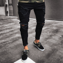 Men Jeans Stretch Destroyed Ripped Design Black Pencil Pants Slim Biker Trousers Hole Jeans Streetwear Swag Pants Skinny Jeans недорго, оригинальная цена