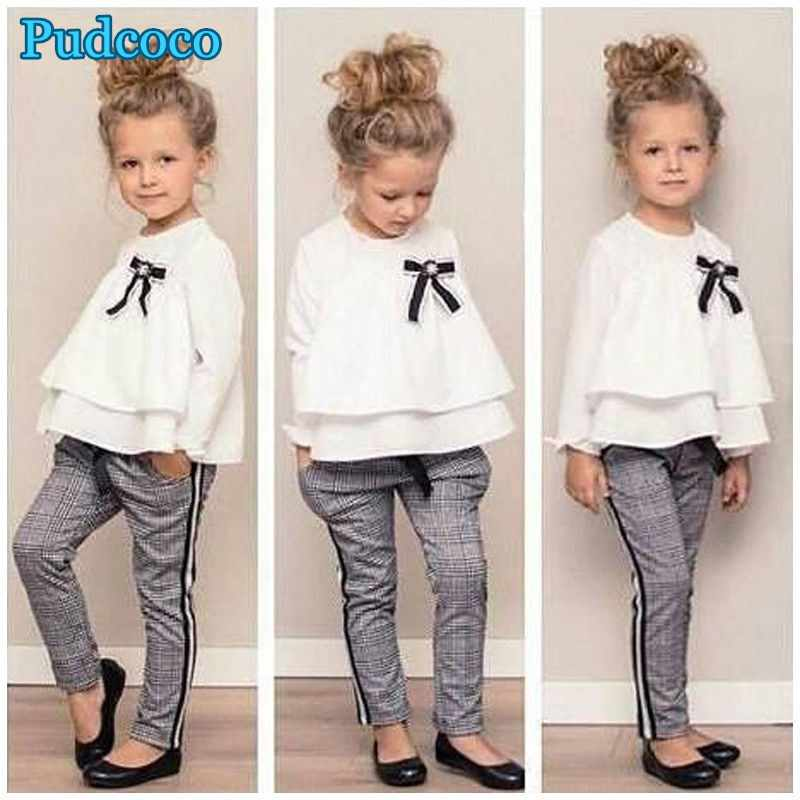 Pudcoco 2019 Brand New Toddler Baby Girl Chiffon Long Sleeve Tops Blouse+Stripes Trousers Pants Clothes