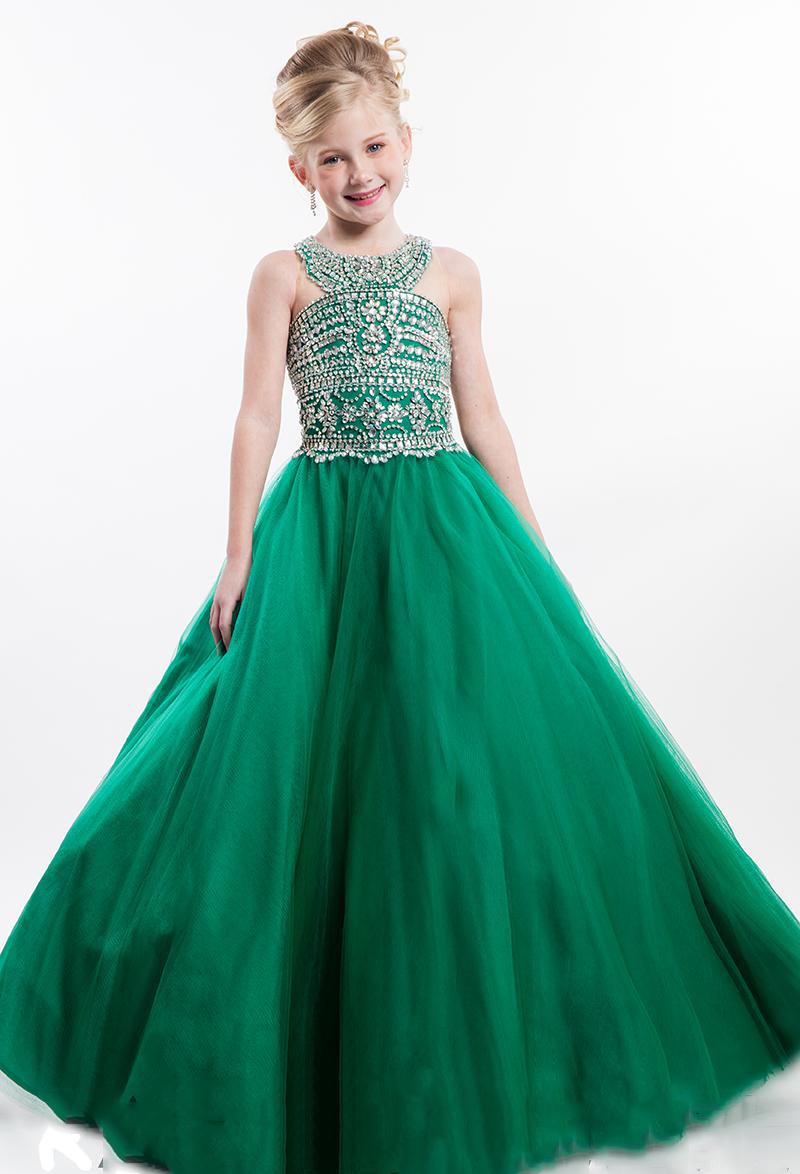 2017 fashion green beads pageant dresses for little girls for Dresses for girls for wedding