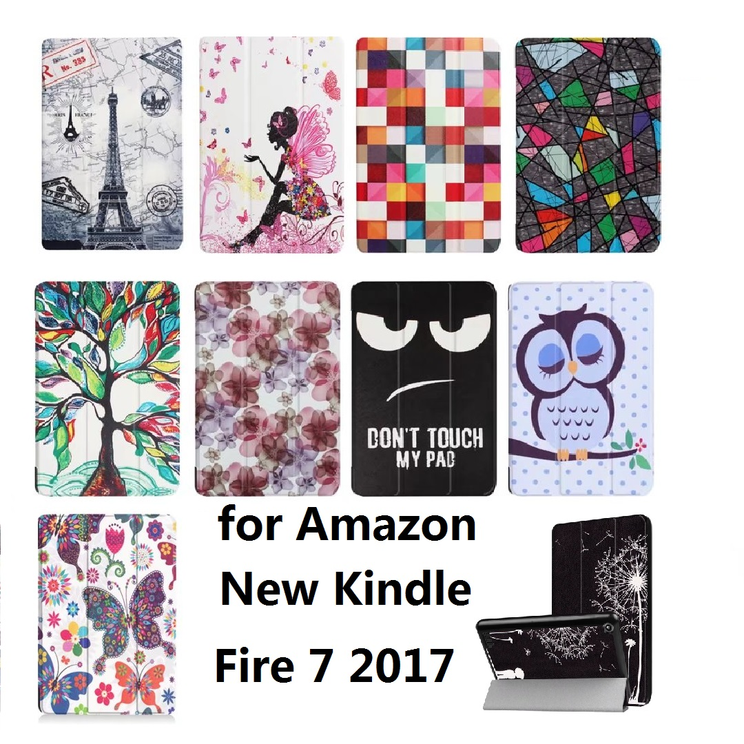New Slim Painted 3-Fold Coque For Kindle Fire 7 2017 Case Flip Bracket Stand PU Cover for Amazon New Kindle Fire 7 2017 Case protective pu leather case for amazon kindle fire 7 tablet white