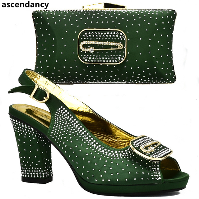 Latest Design Italian Shoes with Matching Bags Set Decorated with Rhinestone African Shoes for Women High Heels Party Pumps