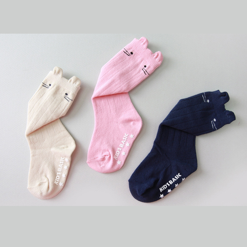 w078 Free shipping 0-1 New cute cat style Non-slip  in tube socks multi-size autumn and winter cotton children socks baby socks