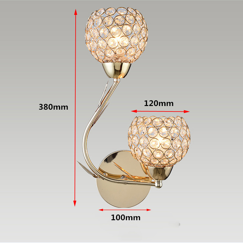Modern Art High Grade Crystal E27 Wall Lamp European Luxury Style LED Wall Light For Home Indoor Bedroom Living Room Decoration