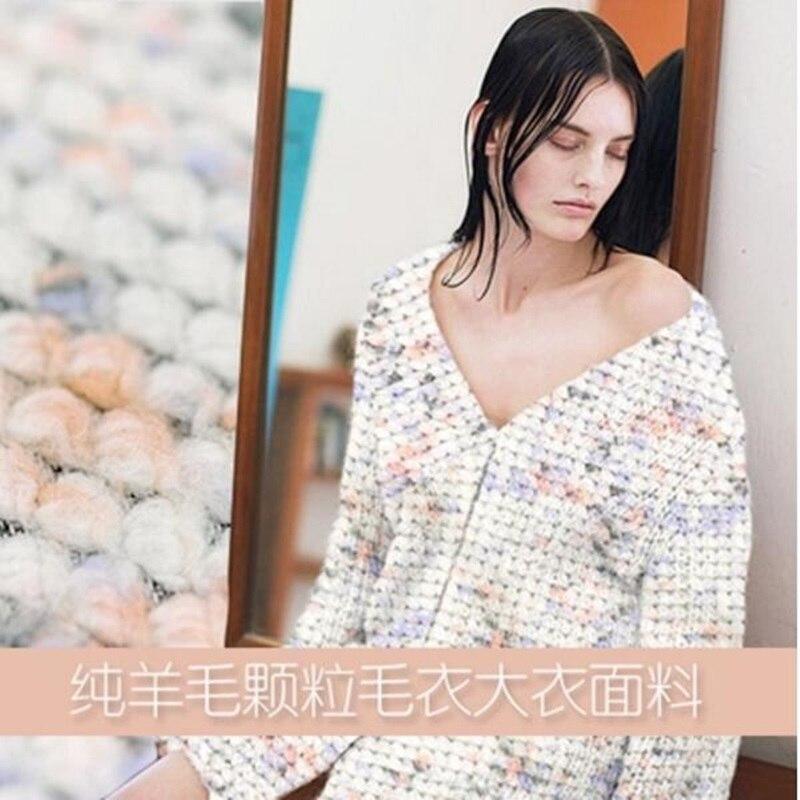 Ball granule weave pure wool knit sweater coat fabric cloth 542grams per meter