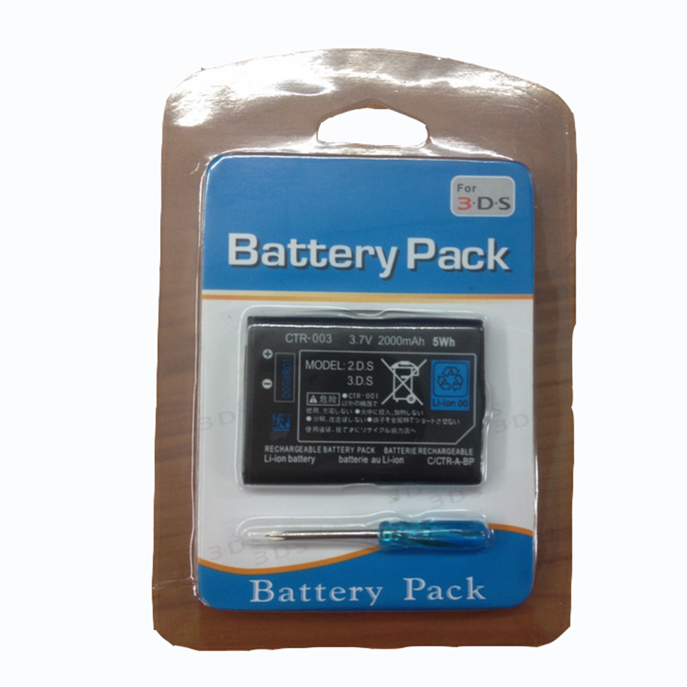<font><b>2000mAh</b></font> 3.7V Replacement Rechargeable Game <font><b>Battery</b></font> Pack With Tool Screwdriver For Nintendo For <font><b>3DS</b></font> image