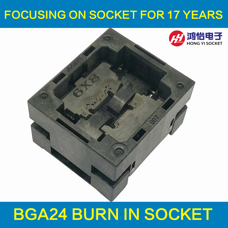 BGA24 Burn in Socket IC size 6*8 mm/BGA24 IC Test Socket /BGA24 Adapter Pin Arrays 6*8mm free shipping sop32 wide body test seat ots 32 1 27 16 soic32 burn block programming block adapter