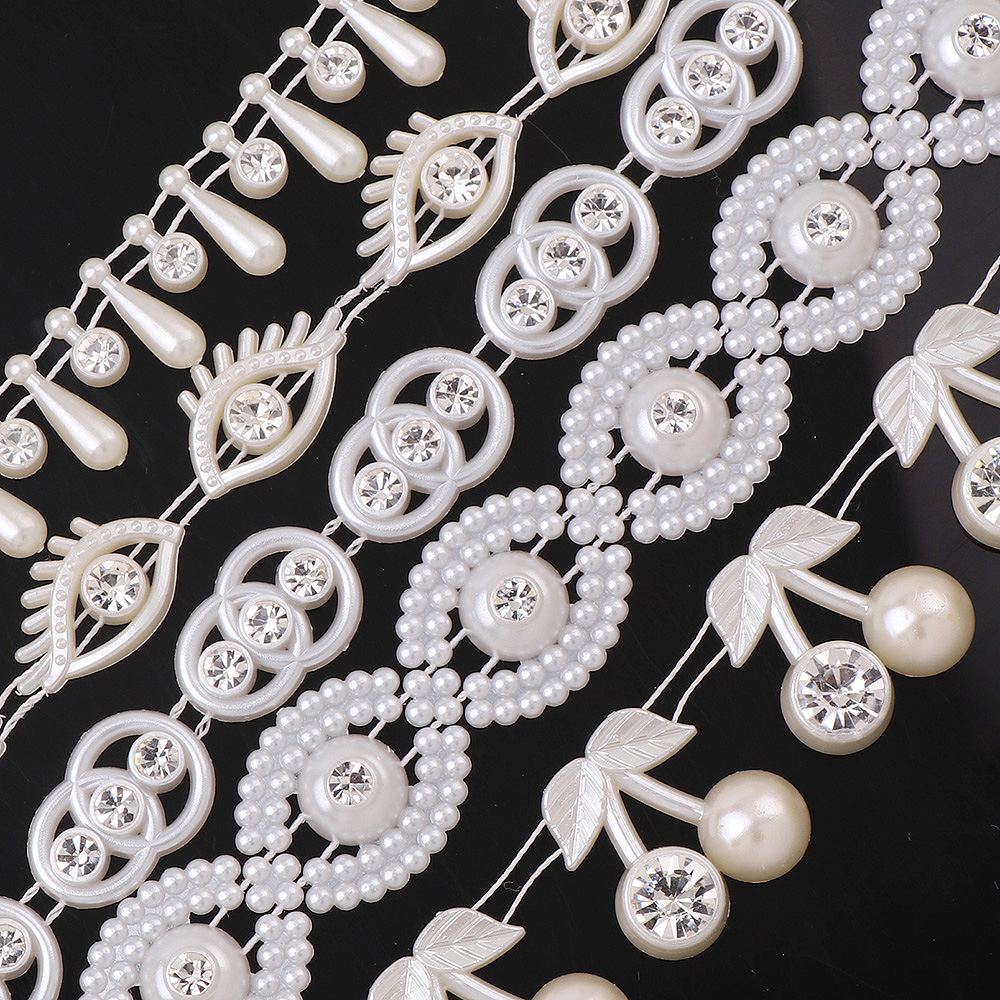 14-23mm1Yard Fishing Line Water Drop Eye Cherry ABS Pearl Beads Chain Trim with Rhinestone For Wedding Bridal Bouquet Decoration