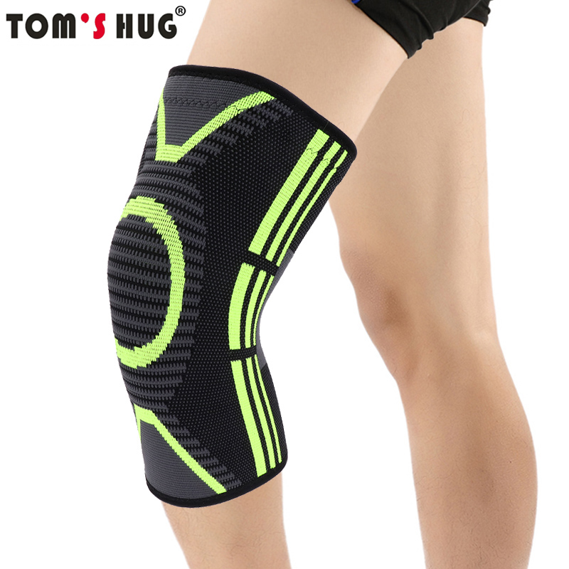 Tom's Hug Sport Knee Support Brace 1 Pcs Green Pattern Knee Pad Protect for Joint Pain Relief and Injury Recovery Black Kneepad 1pair health care knee brace support therapy compression sleeves for arthritis meniscus tear acl pain relief injury recovery