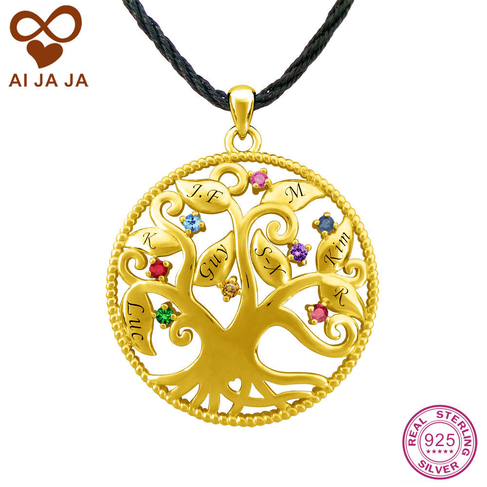 Online Aijaja Silver Family Tree Necklace Pendants Customized Name Engraved Birthstones Life Mom Gold Color Aliexpress