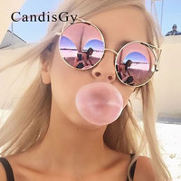 Oversized Cat Eye Sunglasses 2016 New Brand Designer New Mirror Popular Women Fashion Rose Gold