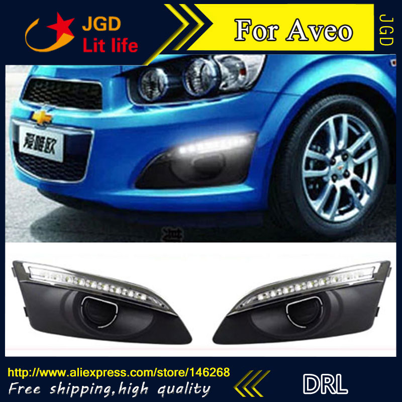 Free shipping ! 12V 6000k LED DRL Daytime running light for Chevrolet AVEO fog lamp frame Fog light