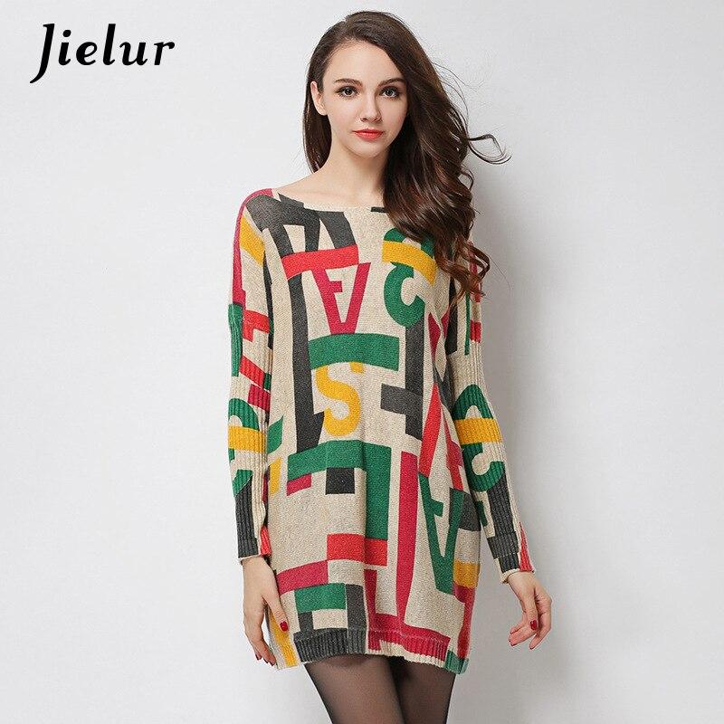 Jielur 2019 zimní podzimní dopis tištěný svetr pro ženy svetr módní volný čas vlněné směsi pletené svetry