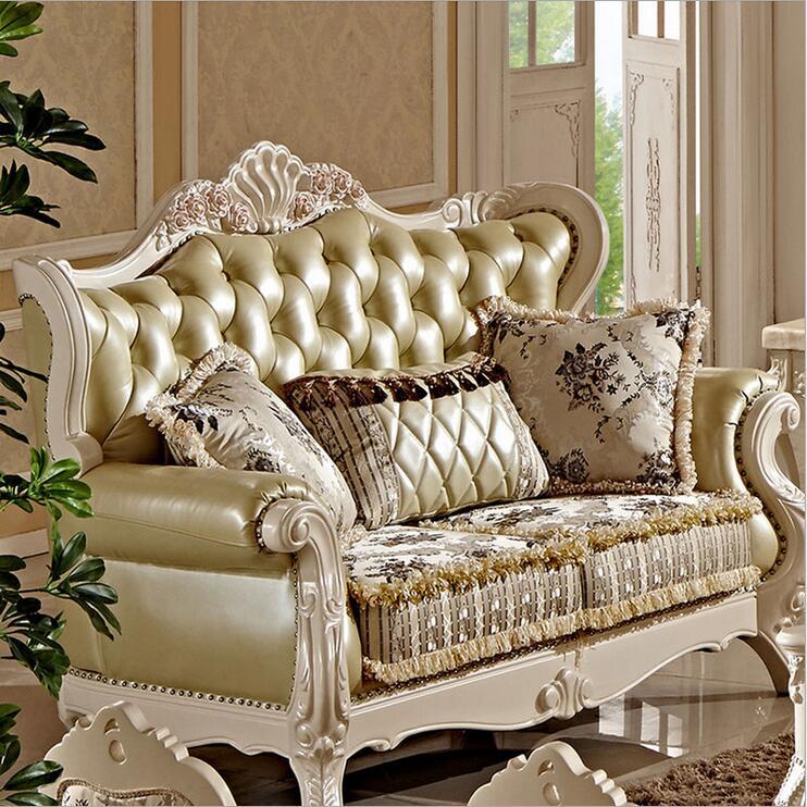 High Quality European Antique Living Room Sofa Furniture Genuine Leather Set Pfy10033