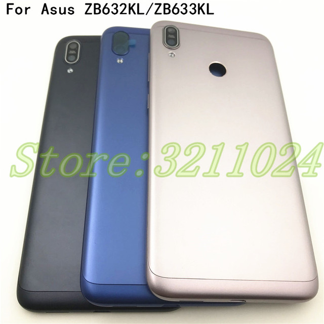 Original For Asus Zenfone Max M2 ZB633KL Back Battery Cover With side key +Camera Glass Lens Rear Battery Door Housing +Logo
