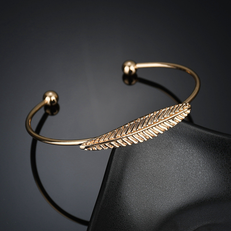 Fashion Open Cuff Bracelet Bangles For Women Charms Adjustable Gold Silver Color  Feather Bracelets Wedding Party Wife Love Gift Браслет