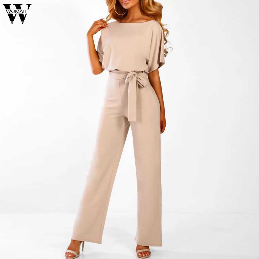 2019 wiosna damska z krótkim rękawem stałe kombinezony proste nogawki kombinezon z paskiem wysokiej talii skrzydeł damskie spodnie na co dzień, szerokie nogawki pajacyki