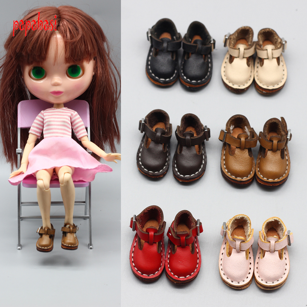 New Style Leather 3.5cm Mini shoes for BJD Joint blyth doll 1/6 30cm gift toy bjd dolls shoes Doll Accessories mini toy doll shoes 6 5cm leather shoes for 1 4 1 3 bjd doll and 16 inch sharon doll accessories