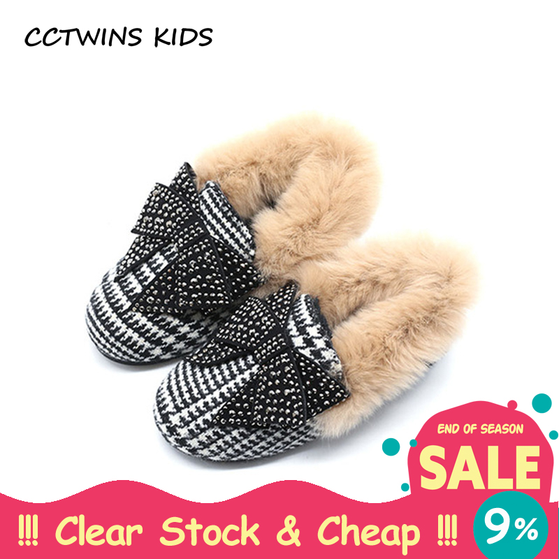CCTWINS KIDS 2017 Winter Toddler Fashion Butterfly Warm Shoe Children PU Leather Loafer Baby Girl Party Princess Flat Boy G1559