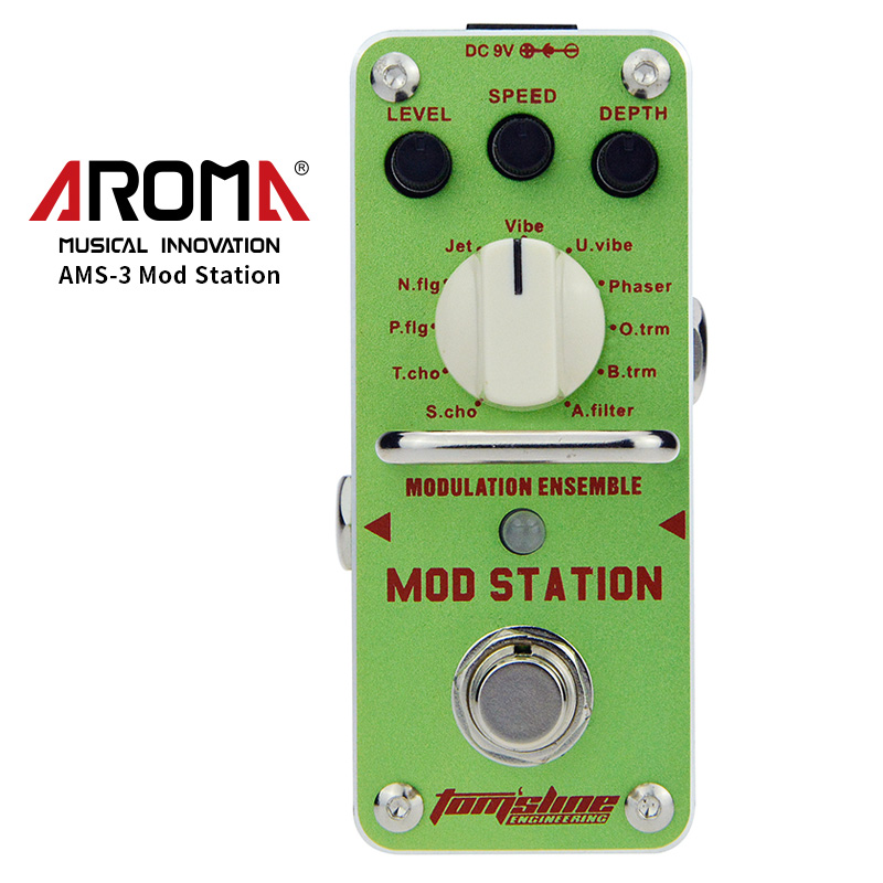 AROMA AMS-3 Guitar Effect Pedal Mod Station Modulation Ensemble Electric Guitar Effect Pedal Mini Single Effect with True Bypass aroma aov 3 ocean verb digital reverb electric guitar effect pedal mini single effect with true bypass guitar parts