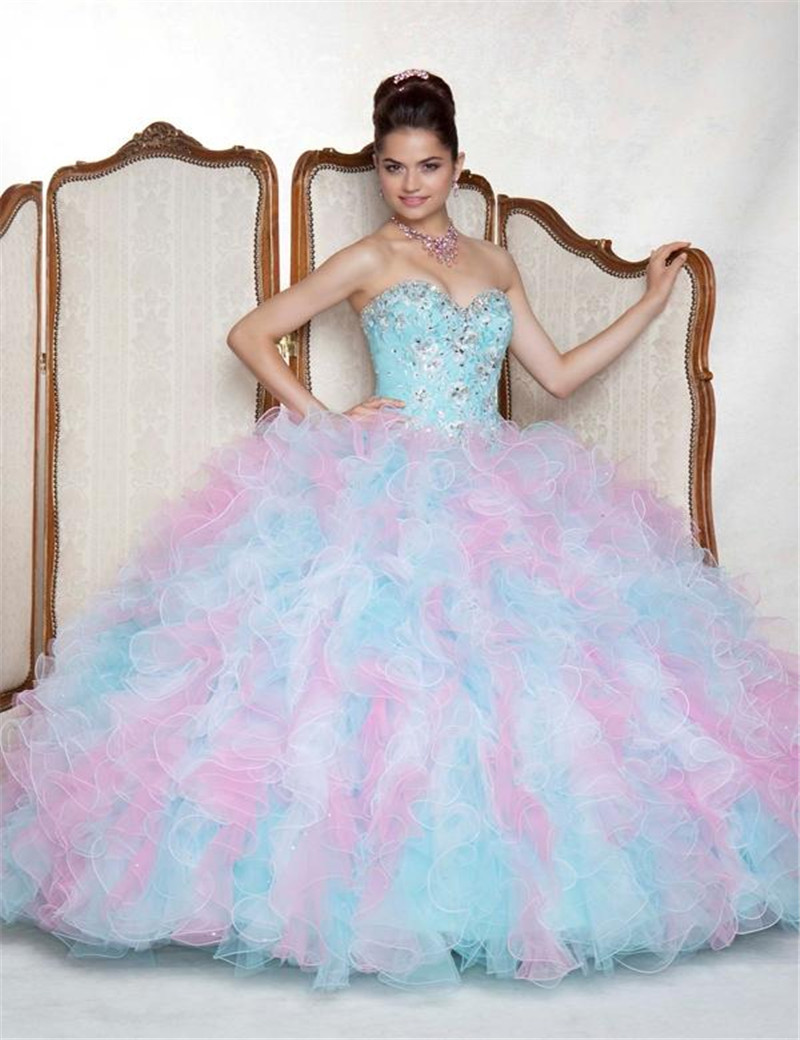 2015 Sweetheart Appliques Beads Ruffled Ball Gowns Sweet 16 Big ...