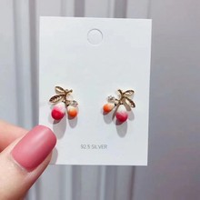 MENGJIQIAO 2019 New Cute Flower Fruit Stud Earrings For Women Metal Delicate Lovely Boucle D'oreille Girls Jewelry Gifts(China)
