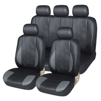 11pcs Classic Man PU Leather Car Seat Cover Universal Fit SUV Vehicles Car Seat Covers Interior Accessories Black