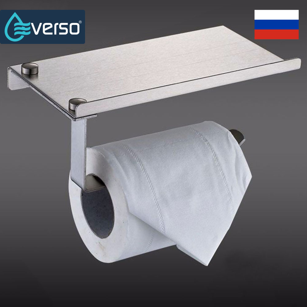 EVERSO Bathroom Wall Mounted Toilet Paper Holder with Shelf Stainless Steel Toilet Roll Paper Holder stainless steel wall mounted waterproof toilet roll paper holder of high capacity for toilet hotel and bathroom