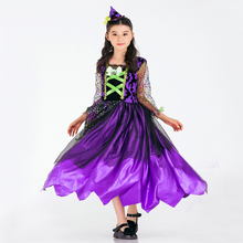 Free shipping new Halloween children Witch Costume play Cosplay dress purple magic girl game costume Chirldrens Day