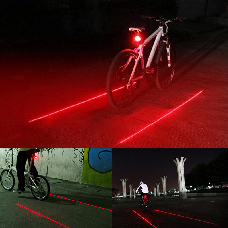 Motor Cycling Lights Waterproof 5 <font><b>LED</b></font> 2 Lasers 3 Modes Bike Taillight Safety Warning Light Bicycle Rear Light Tail Lamp image