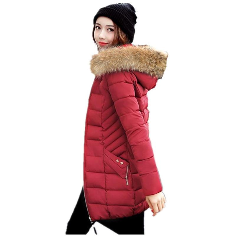 Winter Jackets 2017 Women Parka Jacket Female Long Parka Fur Hood Coat Women Cotton Jacket Abrigos Mujer Large Size M-XXXL C3588 winter jacket women fur hood cotton padded coat parkas for women winter abrigos mujer jaqueta feminina