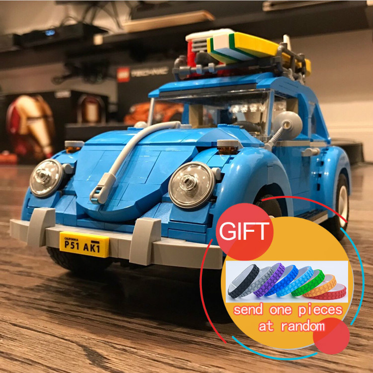 все цены на 10252 1193pcs the Volkswagen Beetle model Building Classic Technic car toy for children Toys Compatible with 21003 lepin онлайн