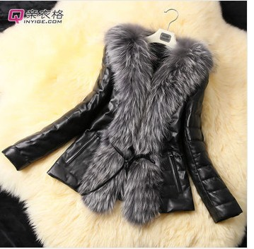 2017 short design female fox fur coat   leather   outerwear plus size fur overcoat women coat WAF-3420