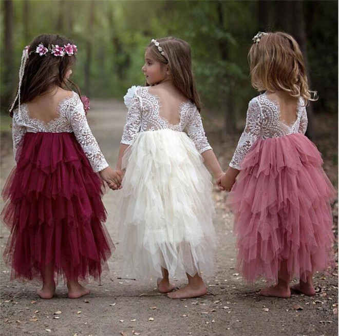 Lace Jewel Flower Girl Dresses 3/4 Long Sleeves First Communication Dress Tulle Tiered Kids Toddler Pageant Gowns Free Shipping