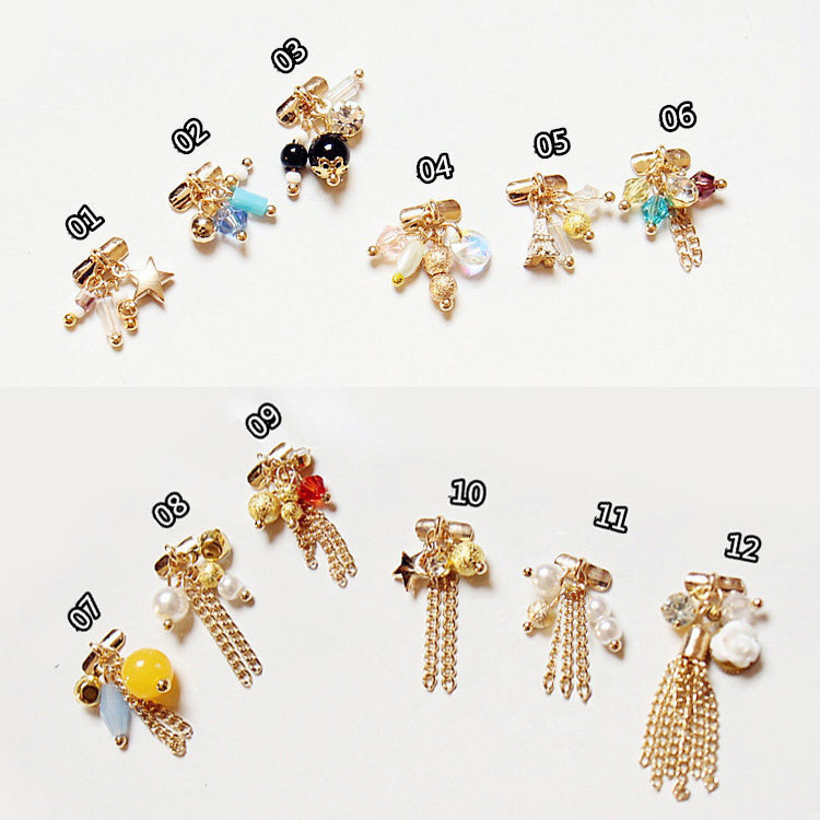 10pcs latest Luxury GOLD charm jewelry 3d fashion nail art decoration Pendant Charm