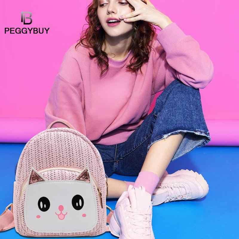 Рюкзаки для путешествий с рисунком кота, Детские рюкзаки для девочек, плетеная солома, школьные рюкзаки для подростков, дорожные школьные сумки через плечо, сумка Bolsas