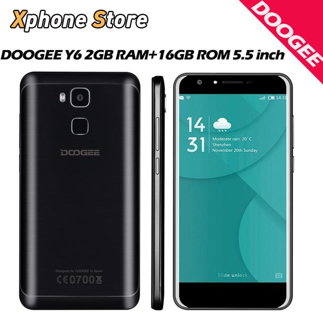 Original doogee y6 android 6.0 5.5 pulgadas 4g lte fdd teléfono celular Octa Core 2 1GBRAM 16 GBROM MTK6750 con FM OTA 13.0MP HD Celular teléfono