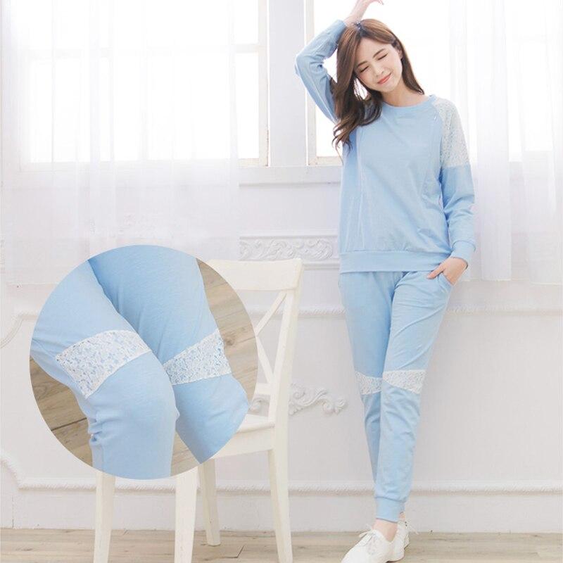 Maternity  Nursing Pajamas set Soft Cotton Comfortable Breastfeeding Sleepwear Maternity Pajama Nightgown laura scott womens blue check pajamas lightweight short sleeve pajama set