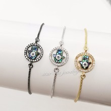 Chain Bracelets Abalone Charm-Link Pulseras Fashion Jewelry Black Cubic-Zirconia 10pcs/Lot