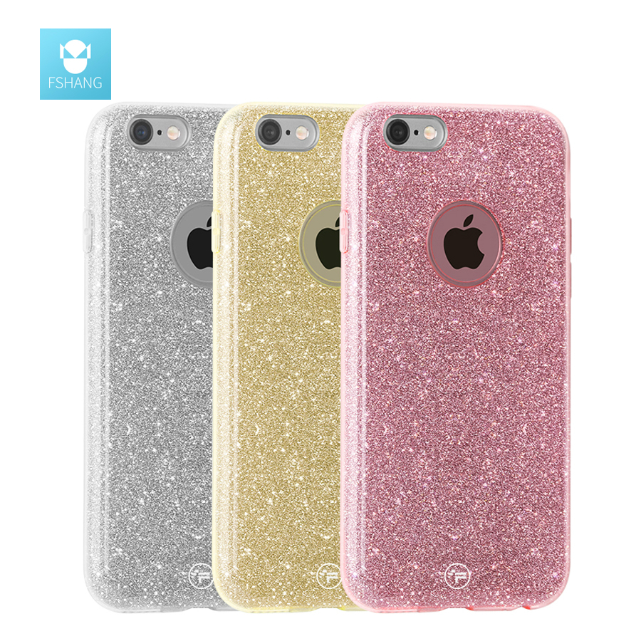 FSHANG Shining for iphone 6 6S S plus Cases for iphone6 6 S Glitter TPU Soft Silicone Bling Back Cover Coque phone bags & cases