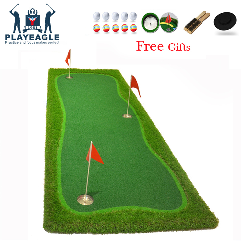 Golf Putting Mat 3 Holes Practice Green100x300cm Indoor Training Putting Pad Practice Hole Cup Holder Outdoor Golf Puttinng Mat caiton portable golf putter set kit with ball hole cup for travel indoor golf putting practice top grade redwood golf gift