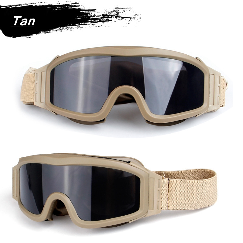 HTB1eCLkXzzuK1Rjy0Fpq6yEpFXaA - Black Tan Green Airsoft Tactical Goggles USMC Tactical Sunglasses Glasses Army Airsoft Paintball Goggles