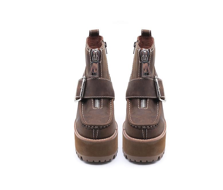 Décoré Avant forme Talons Bottines Hauts Boucles Sestito Filles As Plate Femmes Grand Pictures Chaussures Rond Carré Bout Dames Décontractées Haute Zip qqPxtCn