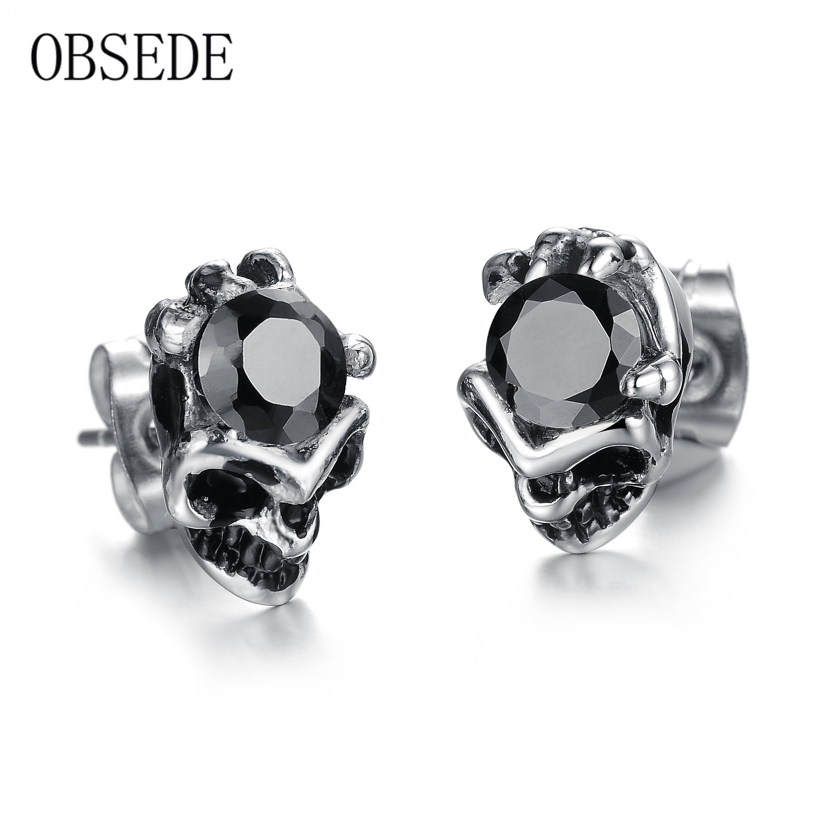 Obsede Fashion Unique Skull Stud Earrings Stainless Steel Earring For Women Men  Best Jewelry Gift With