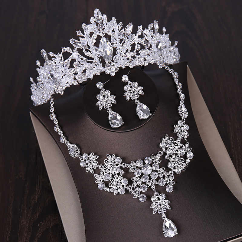 Luxury Silver Crystal Bridal Jewelry Sets African Beads Rhinestone Choker Necklace Earrings Crowns Set Wedding Dress Accessories