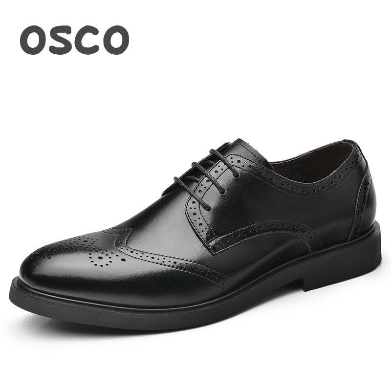 OSCO/Модная Мужская обувь из воловьей кожи с резным узором, из натуральной кожи, в британском стиле, в деловом стиле, свадебные туфли, мужская п...