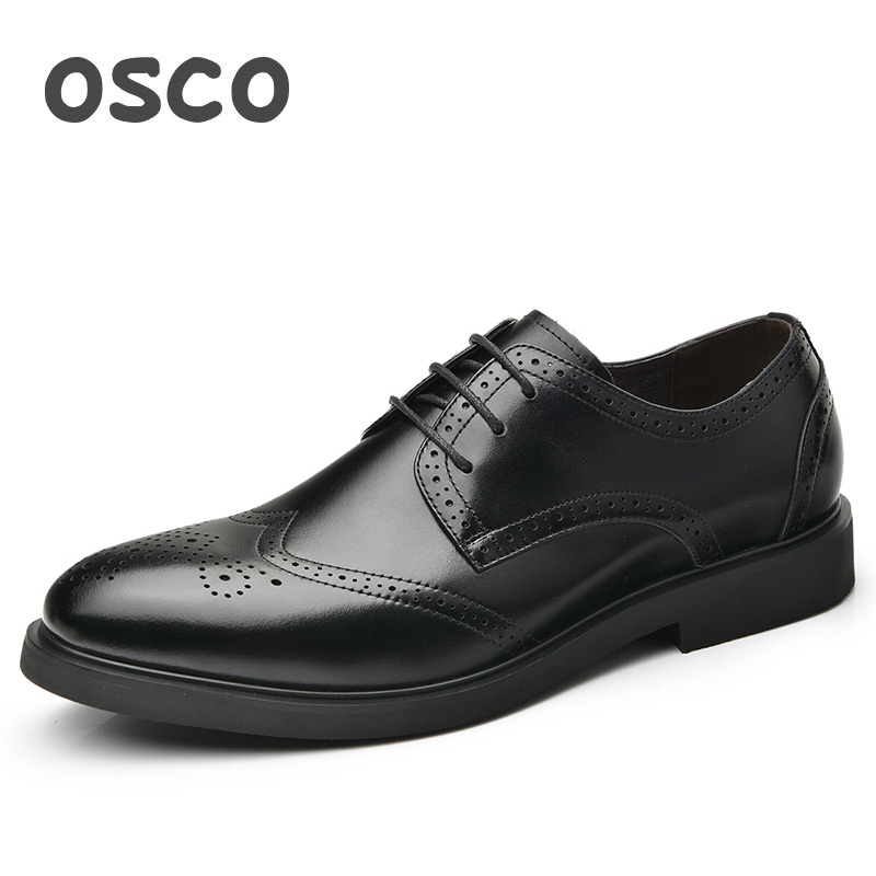 OSCO Fashion Bullock Carved Men Shoes Genuine Leather British Business Dress Wedding Shoes Men Casual Summer Formal Shoes