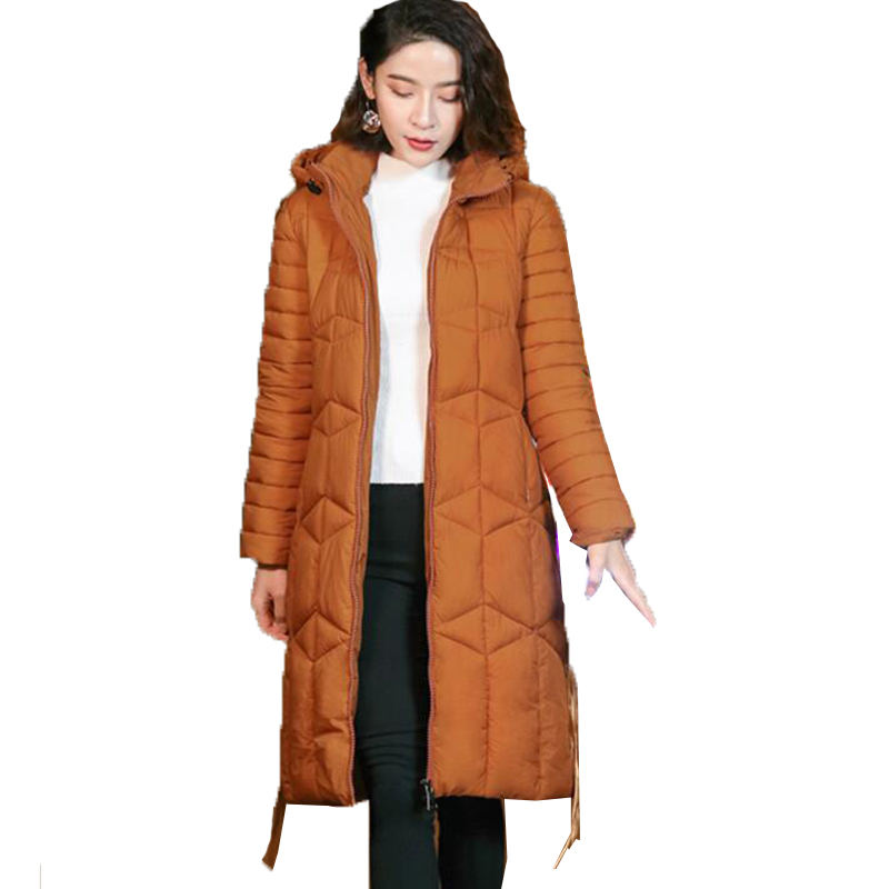 Winter Jacket Female   Parka   Coat Plus size 3XL Fashion Down Cotton Jacket Long Hoodie Down Thick Long Coat Jacket Women Clothing