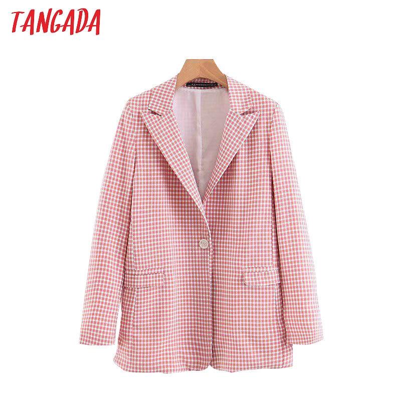 Tangada Women Korea Chic Pink Plaid Blazer Pockets Buttons Office Lady Blazer Long Sleeve Coat Female Outerwear Jacket Tops 3Z83