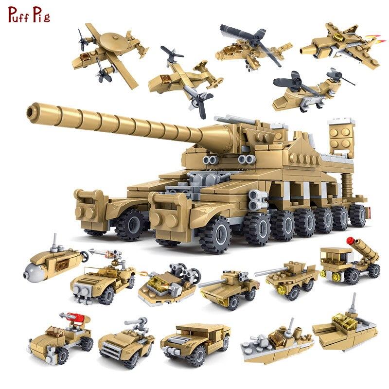544pcs 16 em 1 Tanque Militar Veículo Blindado Blocos de Construção Tijolos Cidade Legoingly Armas Do Exército Brinquedos As Crianças Presentes