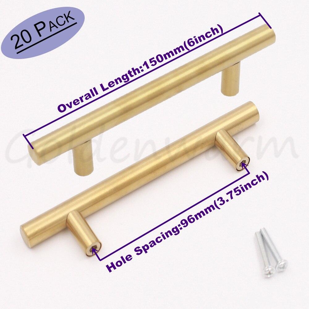Goldenwarm 20 Pack Gold Cabinet Handles T Bar Door Knob